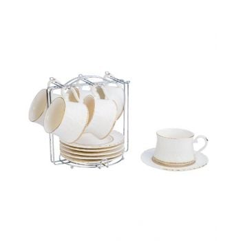 Blumen Cup & Saucer Set With Metal Stand 13 Pcs BCSQ1701A011