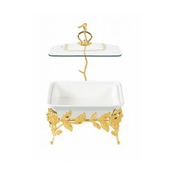 Blumen Square Casserole 11 Inch With Candle Stand - Bcx3171