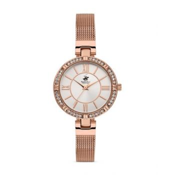 Beverly Hills Polo Club White Dial Analog Womens Stainless Steel Watch - Bh9636-01
