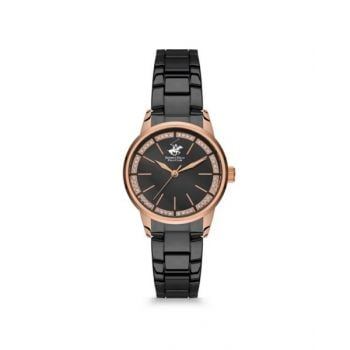 Beverly Hills Polo Club Black Dial Analog Womens Stainless Steel Watch - Bh9664-04