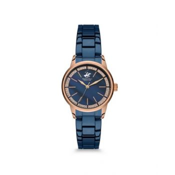 Beverly Hills Polo Club Blue Dial Analog Womens Stainless Steel Watch - Bh9664-05
