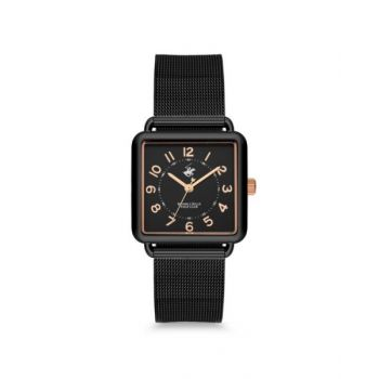 Beverly Hills Polo Club Black Dial Analog Womens Stainless Steel Watch - Bh9670-01