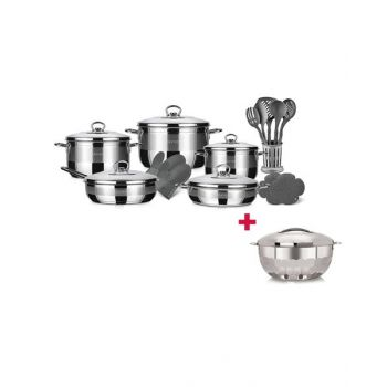 Blumen Stainless Steel Classic Mega Cookware Set 20 Pcs BLSCW485220P and Blumen Hot Pot Diamond 7.5L BHPD75 BUNBLSCW485220P