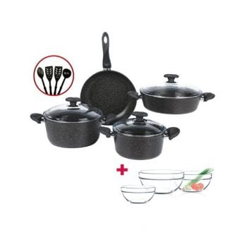 Papilla Cookware Set Granite Wilma Black 7 Pcs + 4 Pcs Kitchen Untensils P11PWBLK and Luminarc Stackable Bowl 3 Pcs Set D9001 BUNP11PWBLK