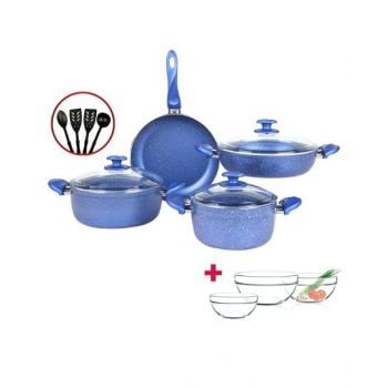 Papilla  Cookware Set Granite Blue 7 Pcs + 4 Pcs Kitchen Untensils P11PWBLU and Luminarc Stackable Bowl 3 Pcs Set D9001 BUNP11PWBLU
