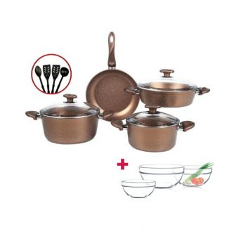Papilla Cookware Set Granite Wilma Copper 7 Pcs + 4 Pcs Kitchen Untensils P11PWCOP and Luminarc Stackable Bowl 3 Pcs Set D9001 BUNP11PWCOP