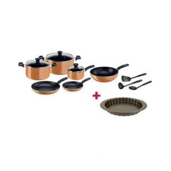 Tefal Prima Non Stick 12 Piece Cookware Set - B168A374 and Tefal Bakeware Tart  Easy Grip 27Cm TFJ1628344 BUNTFB168A374