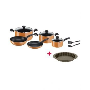 Tefal Cookware Set Prima 10Pcs - TFB168A474 and Tefal Bakeware Tart  Easy Grip 27Cm TFJ1628344 BUNTFB168A474