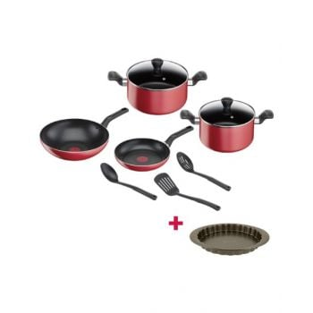 Tefal Super Cook 9pcs Cookware Set Red and Tefal Bakeware Tart  Easy Grip 27Cm TFJ1628344 BUNTFB243S98