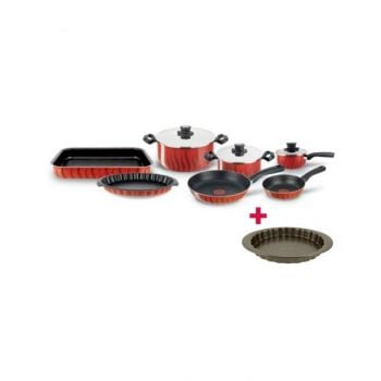 Tefal New Tempo Flame Set 10 Pieces - C5489982 and Tefal Bakeware Tart  Easy Grip 27Cm TFJ1628344 BUNTFC5489982