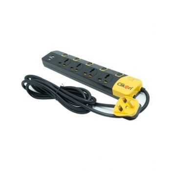 Clikon - 4 Way 3M Extension Socket with 2x USB Output Black and Yellow CK557N