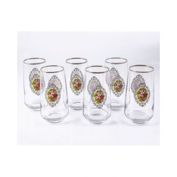 Enescolong Glass Set Gullu-Platin 6 Pcs Set E6Plgulpb