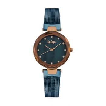 Lee Cooper Womens Analog Rose Gold Case Blue Super Metal Strap Mop Blue Dial -Lc06607.490