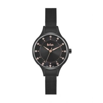 Lee Cooper Womens Analog Black Case Black Super Metal Strap Black Dial -Lc06620.650