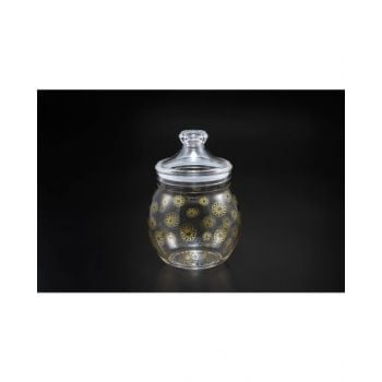 Makaan Belly Round Jar with Gold Rose M02708