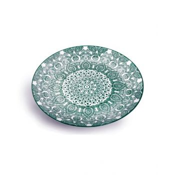 Makaan Che Brucia Round Plate Green Arabisc 10.5 inch MD03065