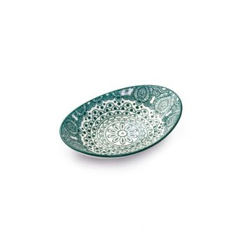 Makaan Che Brucia Oval Bowl Green Arabisc 7 inch MD03067