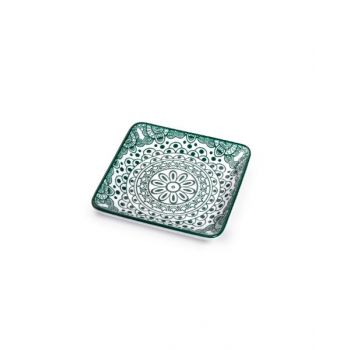 Makaan Che Brucia Square Plate Green Arabisc 4.875 inch MD03069