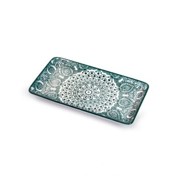 Makaan Che Brucia Rectangle Plate Green Arabisc 8.875 inch MD03070