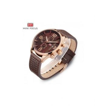 Mini Focus Brown Dial Analog Mens Leather Strap Watch - Mf0016G-04