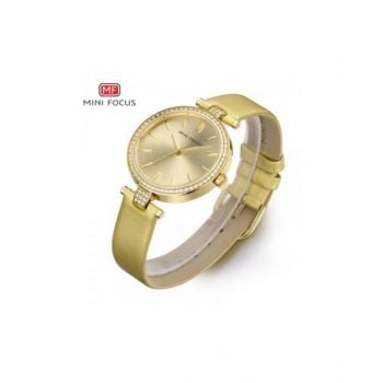 Mini Focus Gold Dial Analog Womens Leather Strap Watch - Mf0039L-01