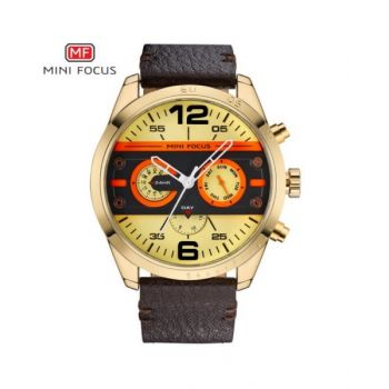 Mini Focus Gold Dial Analog Mens Leather Strap Watch - Mf0068G-06