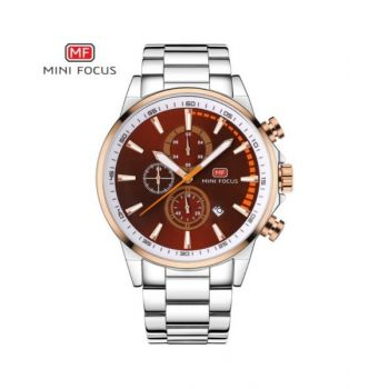 Mini Focus Brown Dial Analog Mens Stainless Steel Watch - Mf0085G-01