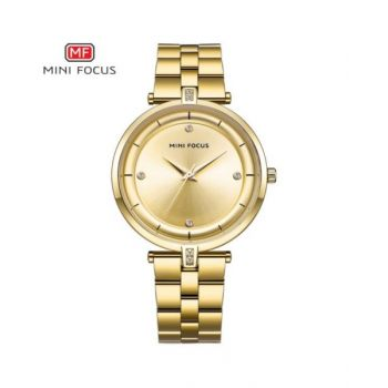 Mini Focus Gold Dial Analog Womens Stainless Steel Watch - Mf0120L-04