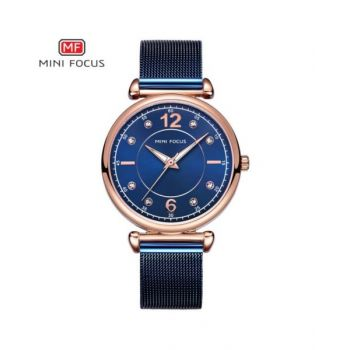 Mini Focus Blue Dial Analog Womens Stainless Steel Watch - Mf0177L-04