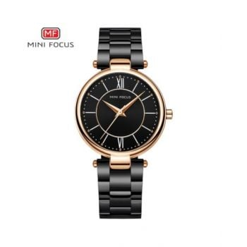 Mini Focus Black Dial Analog Womens Stainless Steel Watch - Mf0189L-03