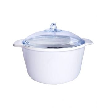 Luminarc Vitro Blooming Round Ceramic Casserole Dish With Lid White - N1617