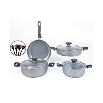 Papilla Cookware Set Granite Fred 7 Pcs + 4 Pcs Kitchen Utensils P11PFGRY