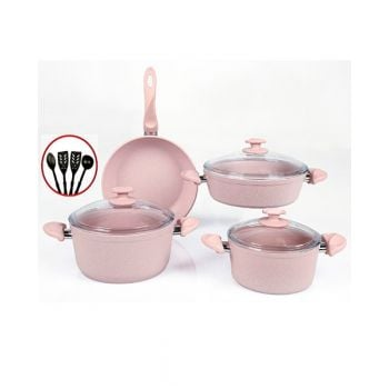 Papilla Cookware Set Granite Wilma Pink 7 Pcs + 4 Pcs Kitchen Untensils P11PWPN
