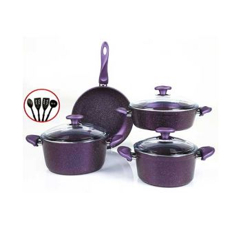 Papilla Cookware Set Granite Wilma Purple 7 Pcs + 4 Pcs Kitchen Untensils P11PWPUR