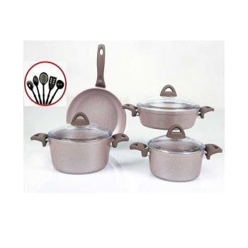 Papilla Cookware Set Granite Wilma Cream 7 Pcs + 5 Pcs Kitchen Untensils P12PWCR