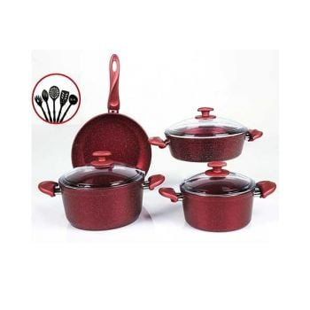 Papilla Cookware Set Granite Wilma Red 7 Pcs + 5 Pcs Kitchen Untensils P12PWRE