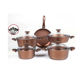Papilla Cookware Set Granite Wilma Copper 9 Pcs + 5 Pcs Kitchen Untensils P14PWCO