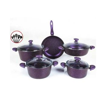 Papilla Cookware Set Granite Wilma Purple 9 Pcs + 5 Pcs Kitchen Untensils P14PWPR