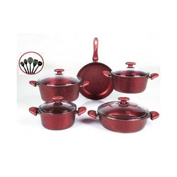 Papilla Cookware Set Granite Wilma Red 9Pcs + 5 Pcs Kitchen Untensils P14PWRE
