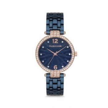 Polo Exchange Blue Dial Analog Womens Stainless Steel Watch - Px0044-02