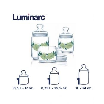 Luminarc Pot Jar Paradise G Green 3 Pcs Set Q0639