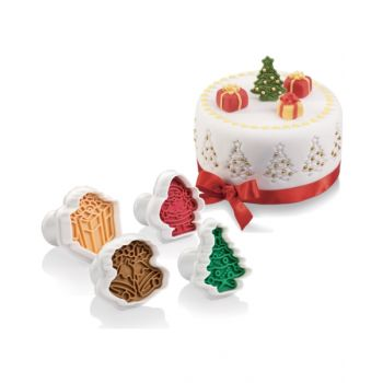 "Tescoma Cookie Cutters With Stamp 4 Pcs, Christmas ""Delícia"" TES630857"